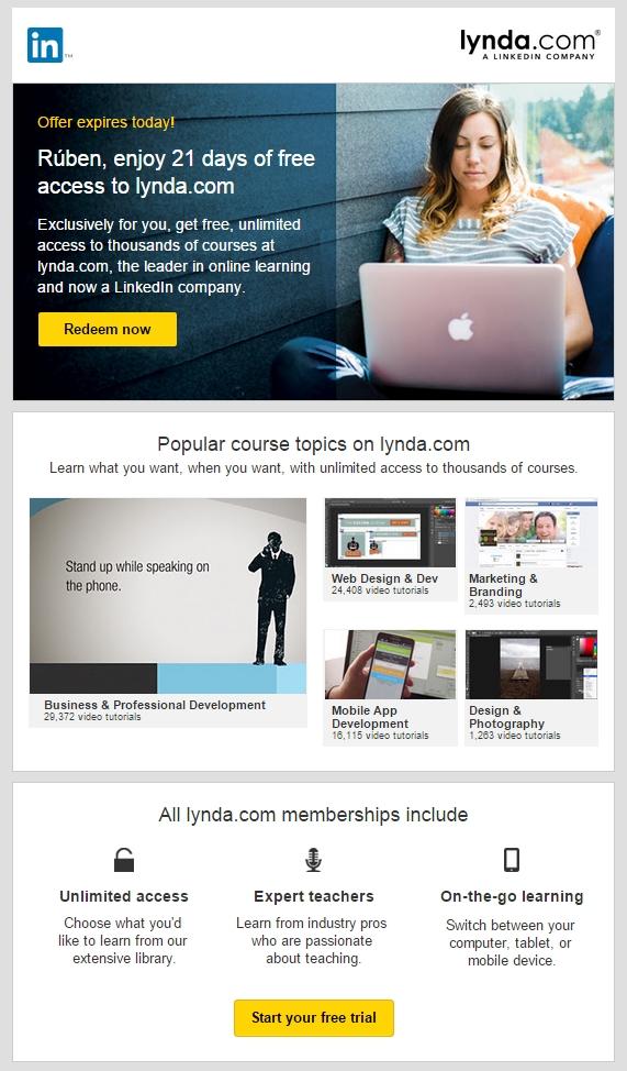 Linkedin cross-selling offer