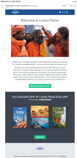 Lonely Planet welcome email