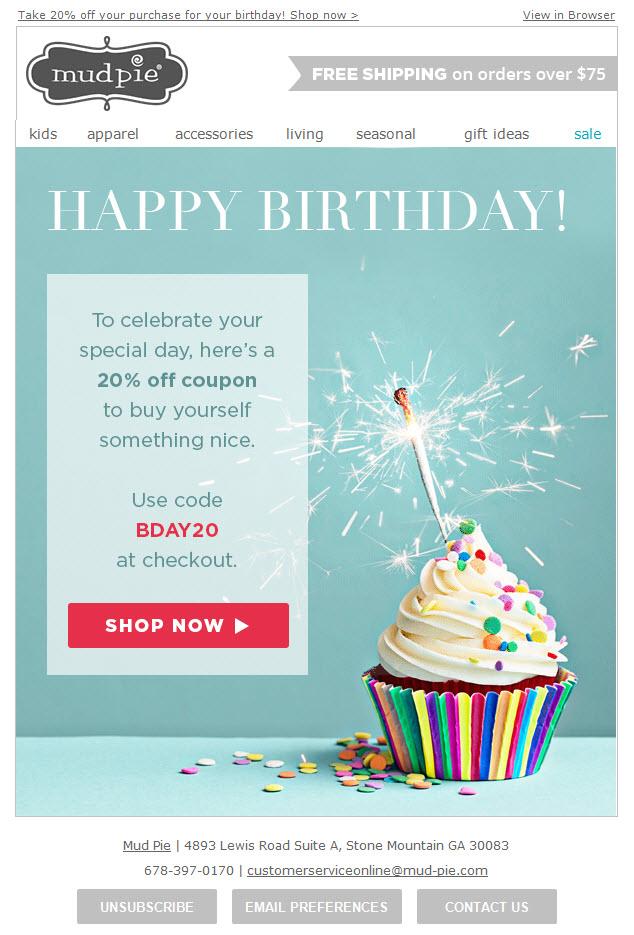 Mudpie birthday email