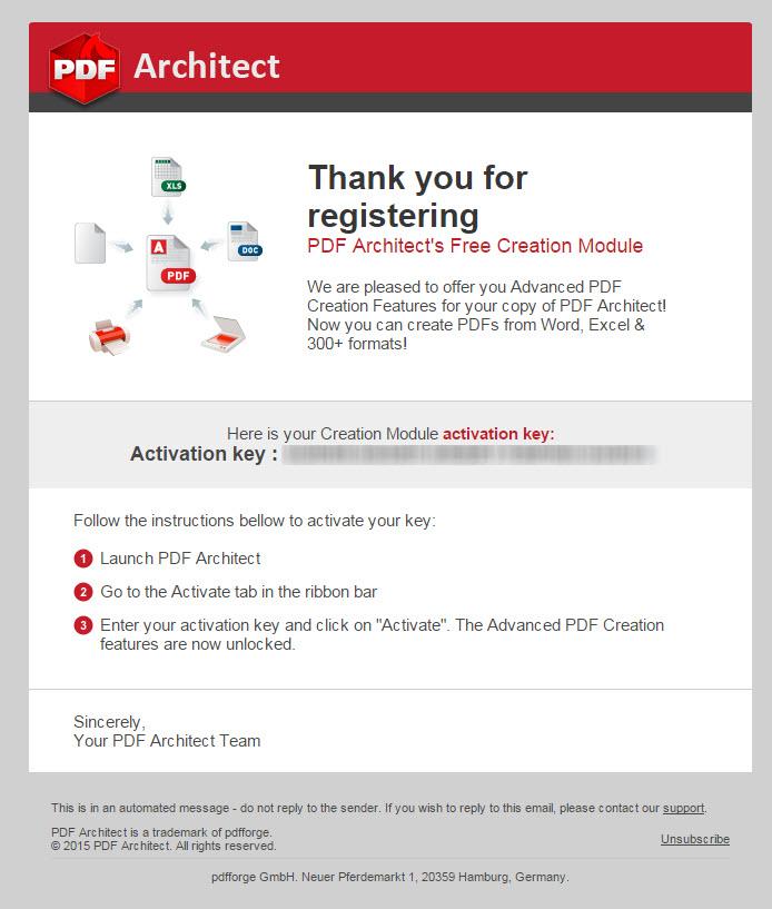 PDF Architect – transactional email