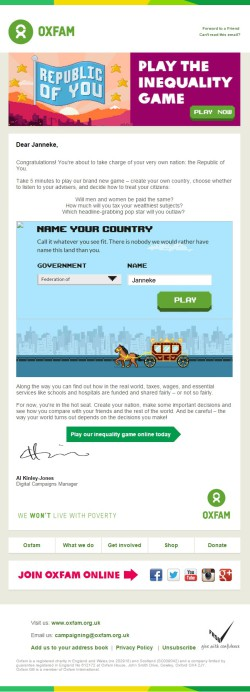Oxfam GB interactive game invitation