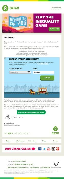 Oxfam GB interactive game invitation