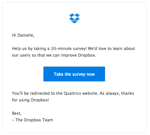 Dropbox survey email