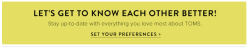 TOMS email preferences banner