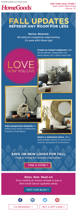 HomeGoods fall email 2015