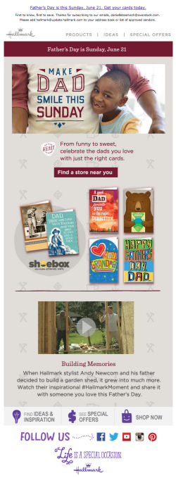 Hallmark Father's Day email 2015