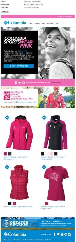 Columbia Breast Cancer Awareness Month email October 2015