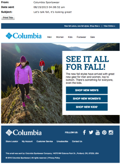 Columbia fall email 2015