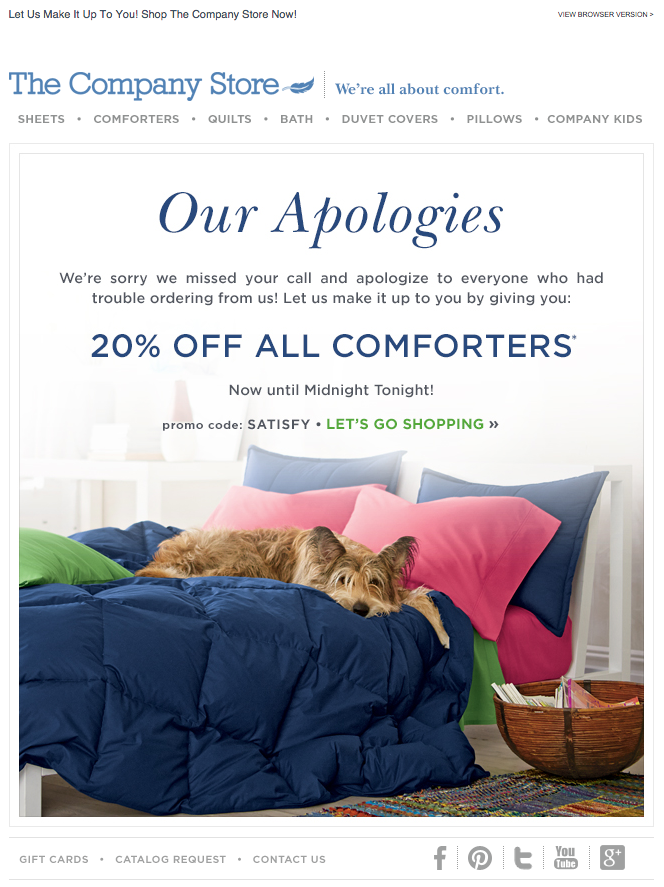 The Company Store apology email