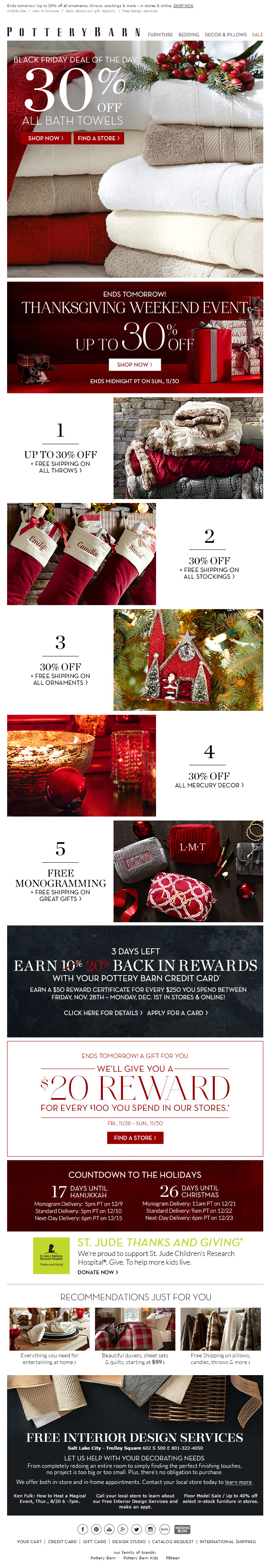 Pottery Barn Thanksgiving email 2014
