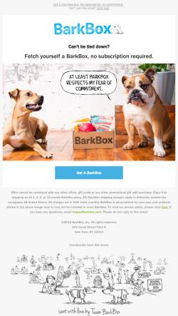 BarkBox upgrade email