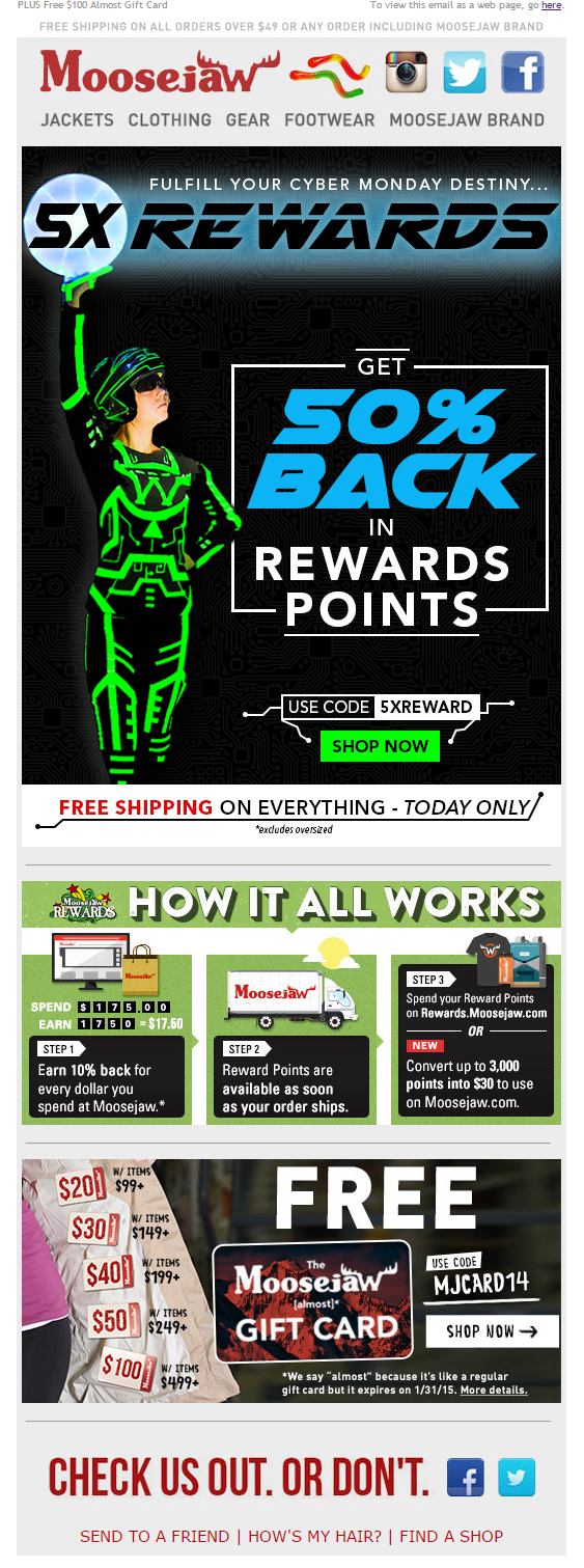 Moosejaw Cyber Monday email