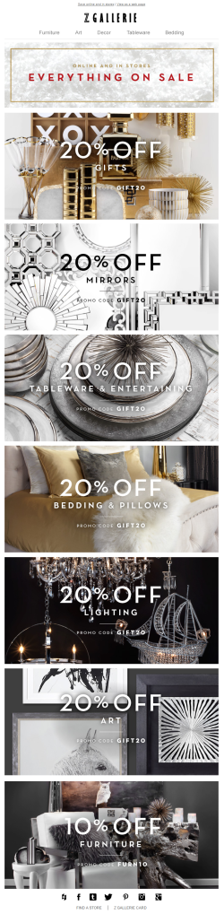 Z Gallerie Christmas email