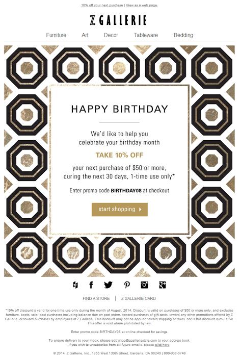 Z Gallerie birthday email