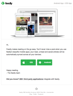 Feedly welcome email November 2015
