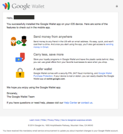 Google Wallet welcome email