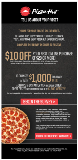 Pizza Hut survey email