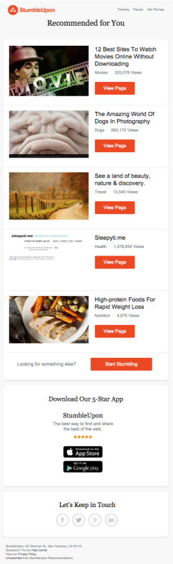 StumbleUpon newsletter