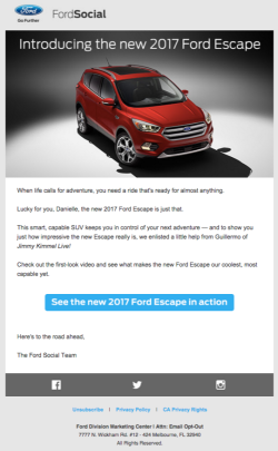 Ford 2017 Ford Espace launch email November 2015