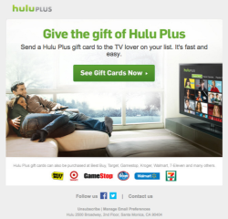 Hulu gift email