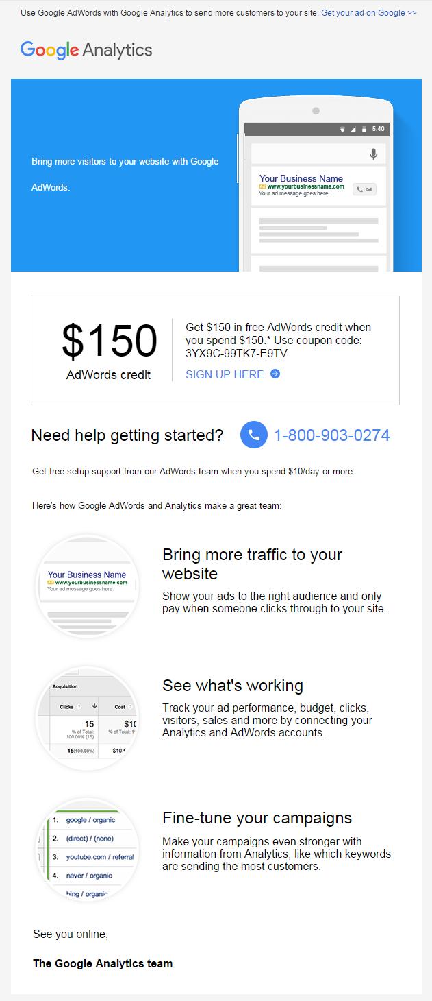 Google Analytics welcome email