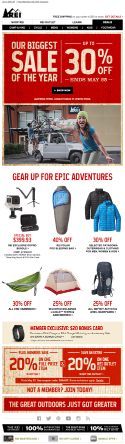 REI sale email