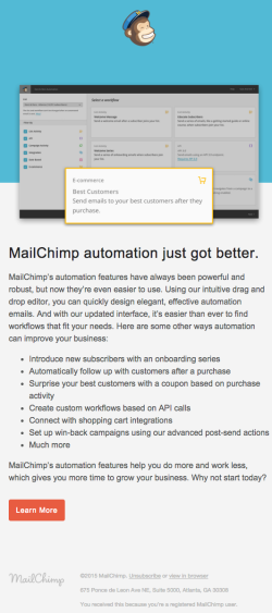 Mailchimp product update email 2015