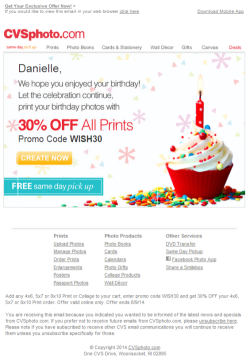 CVSphoto.com birthday email
