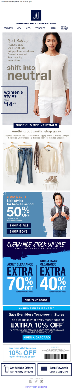 Gap email content 2015