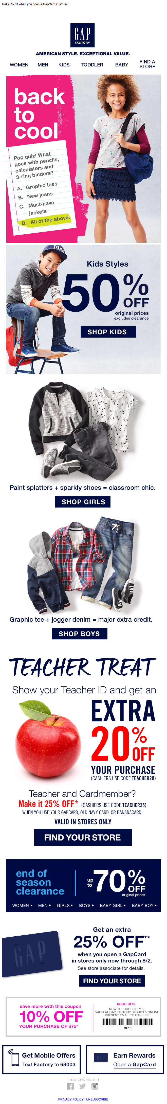 Gap back to school email 2015