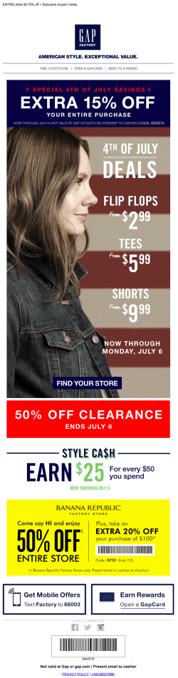Gap July 4th email 2015