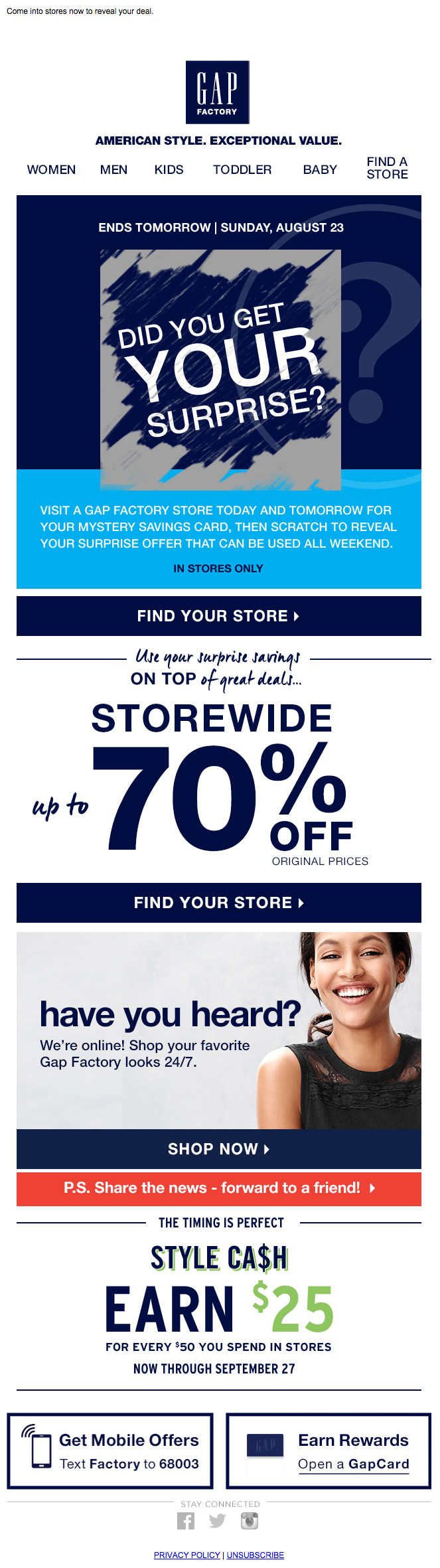 Gap mystery coupon email 2015