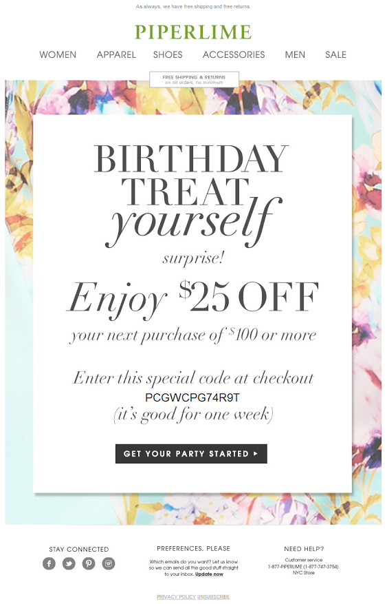 Piperlime birthday email