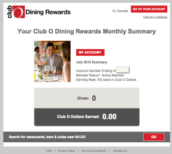 Club O Dining Rewards statement