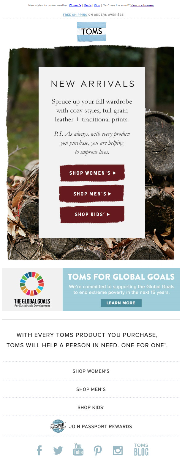 TOMS new arrivals email