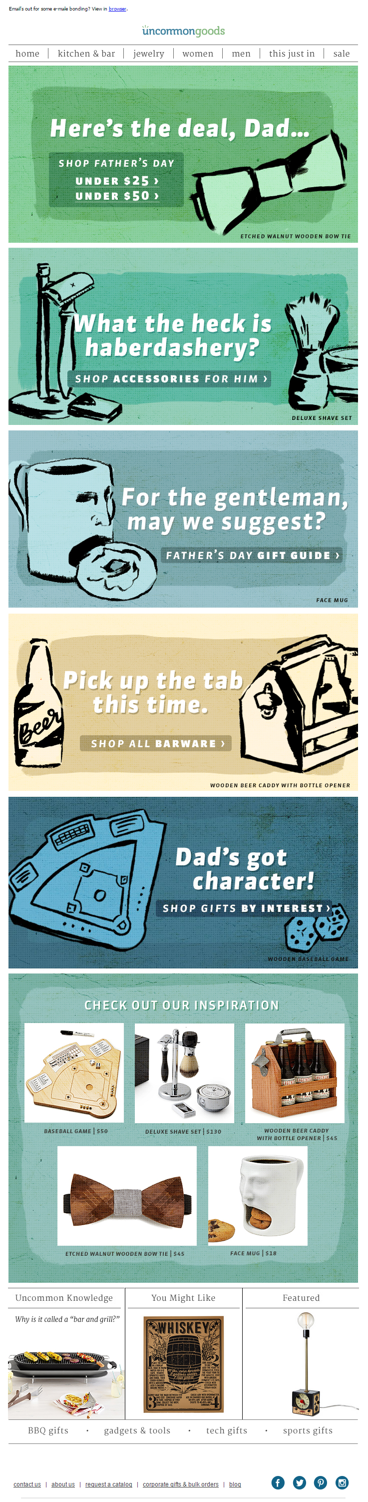 Uncommon Goods Father's Day email 2015