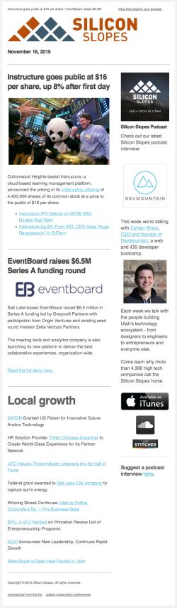 Silicon Slopes newsletter 2015