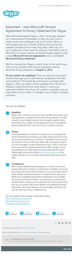 Skype change of privacy statement