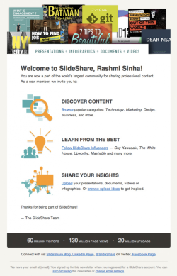 SlideShare's Welcome Email