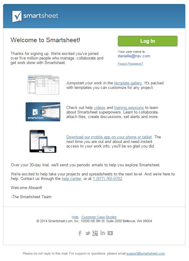 Smartsheet welcome email 1 November 2015