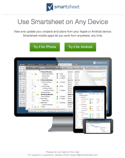 SmartSheet welcome email 2 November 2015