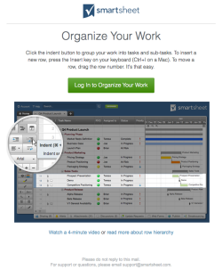 smartsheet welcome email 3 november 2015