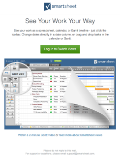 smartsheet welcome email 4 november 2015