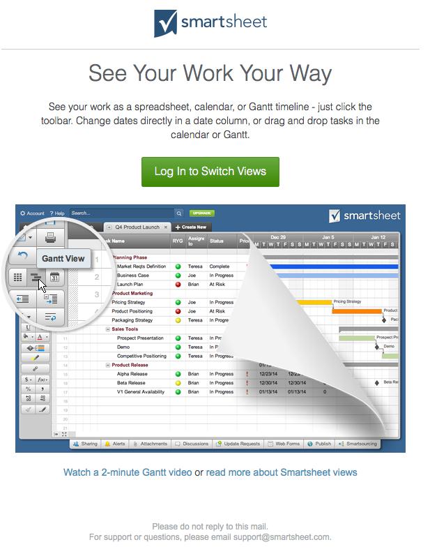 smartsheet welcome email 4 november 2015