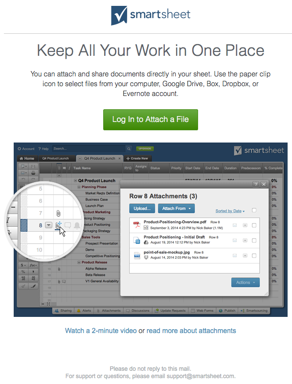 smartsheet welcome email 6 november 2015