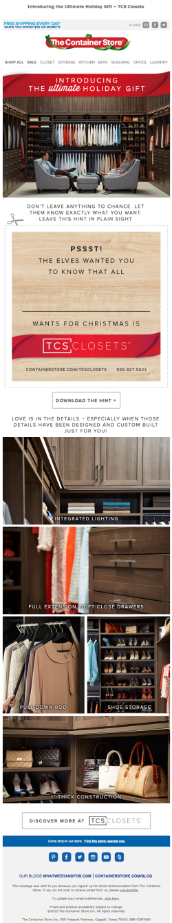 The Container Store holiday email November 2015