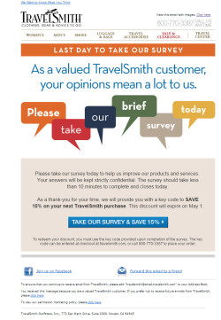 Travelsmith Please take our brief survey today