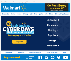 Walmart back to school email 2015